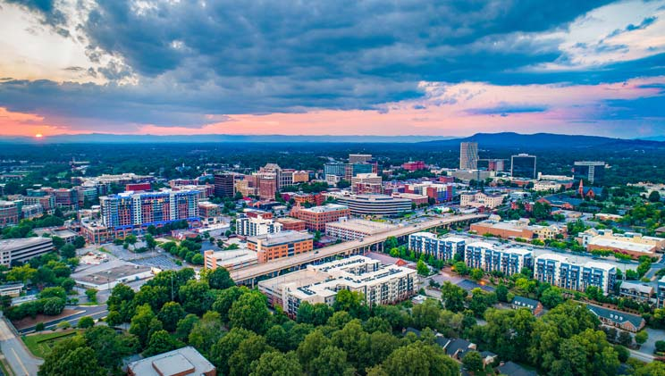 aerial view of Greenville, SC