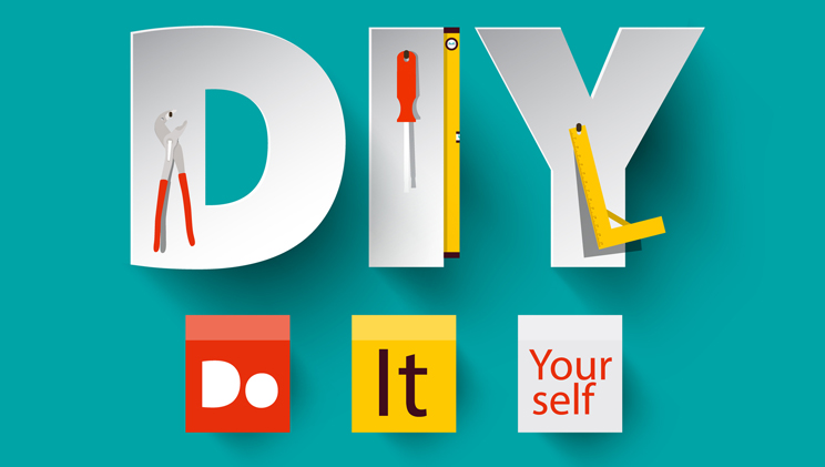 the letters DIY displayed creatively