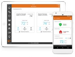 home security systems app pictured on an iPhone and iPad