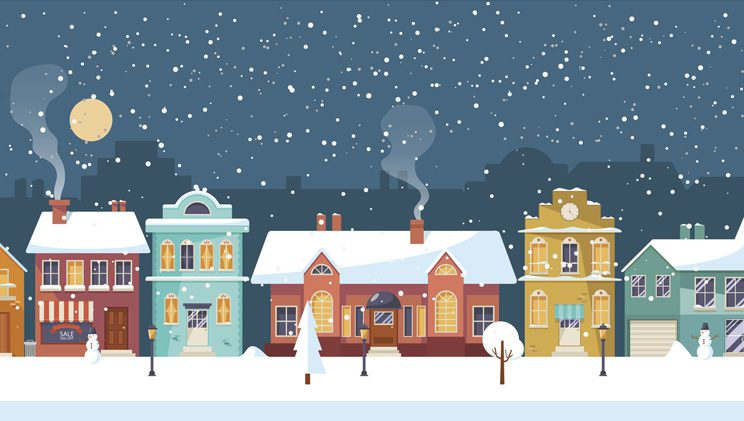 homes with snow at night illustration