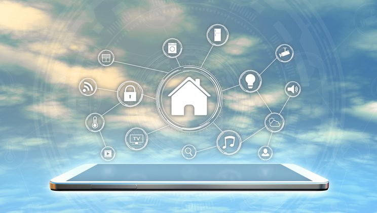 digital device with wireless home security system ad-ons floating above