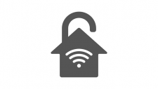 grey lock illustration of a wirelessly secured home