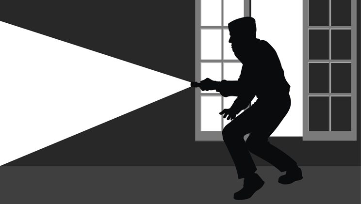 black and white illustration of burglar with flashlight in someone's home