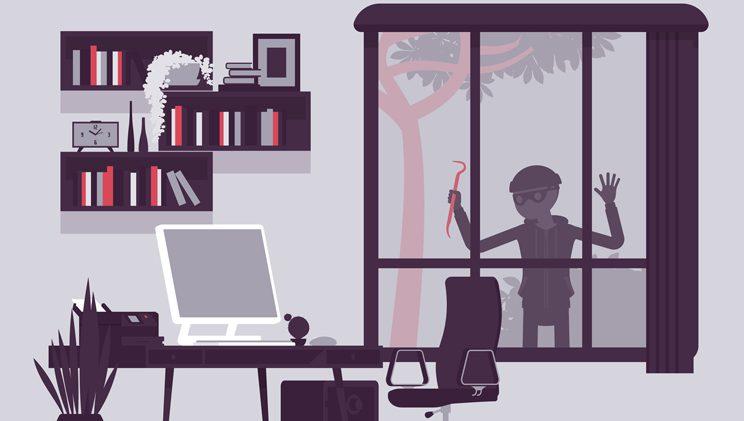 illustration of a burglar looking through a home window