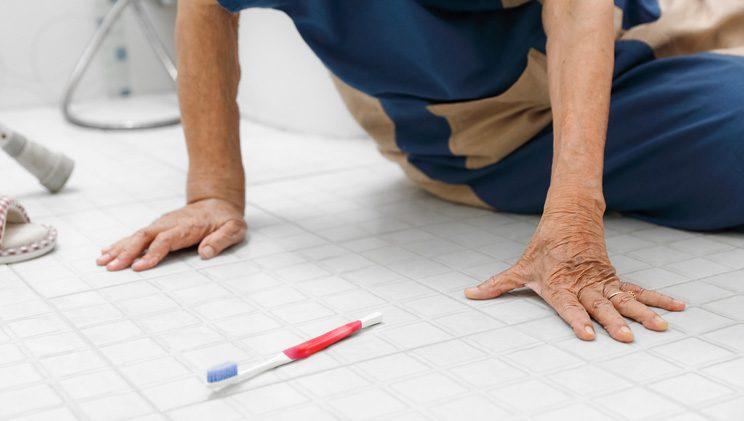 senior adult who has fallen in the bathroom