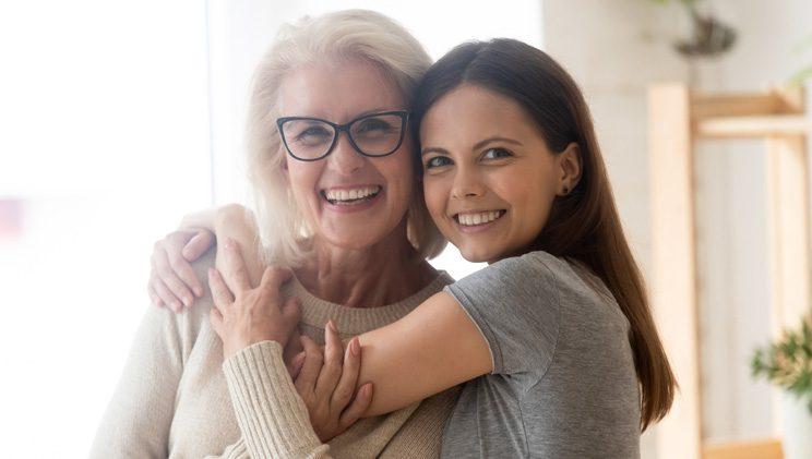 daughter hugging their mom