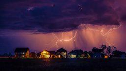 lightning striking houses causing a power surge